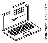 laptop computer with speech... | Shutterstock .eps vector #1164174175