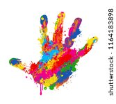 Colorful Handprint On White...