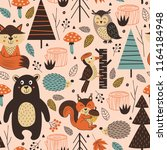 seamless pattern with forest... | Shutterstock .eps vector #1164184948
