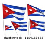 cuba vector flags set. 5 wavy... | Shutterstock .eps vector #1164189688