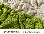 wool blanket  white and green ... | Shutterstock . vector #1164203128