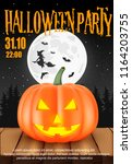 poster for halloween party...   Shutterstock .eps vector #1164203755