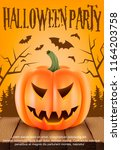 poster for halloween party...   Shutterstock .eps vector #1164203758