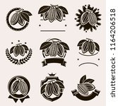 cacao beans label and icons set.... | Shutterstock .eps vector #1164206518
