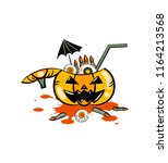 horror drink in pumpkin for... | Shutterstock .eps vector #1164213568