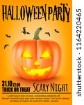poster for halloween party...   Shutterstock .eps vector #1164220465