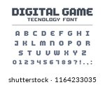 digital game technology font.... | Shutterstock .eps vector #1164233035