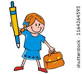 girl with briefcase and pen ... | Shutterstock .eps vector #1164264595
