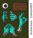 halloween zombie hands template ...   Shutterstock .eps vector #1164264835
