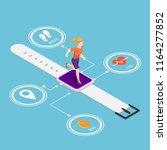 flat 3d isometric woman running ... | Shutterstock .eps vector #1164277852