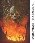 burning graveyard in the skull... | Shutterstock . vector #1164289078