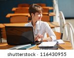 young business woman with... | Shutterstock . vector #116430955