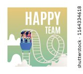 vector happy team poster with... | Shutterstock .eps vector #1164334618