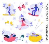 vector people enjoying winter... | Shutterstock .eps vector #1164334642
