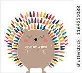 a bright hedgehog wants to be... | Shutterstock .eps vector #1164351088