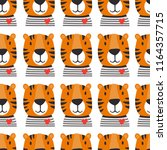 muzzle of tigers  hand drawn... | Shutterstock .eps vector #1164357715
