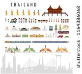 travel to thailand  concept... | Shutterstock .eps vector #1164386068