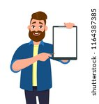 man holding showing a blank... | Shutterstock .eps vector #1164387385