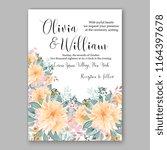 peach peony floral wedding... | Shutterstock .eps vector #1164397678
