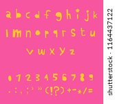 carved alphabet number and... | Shutterstock .eps vector #1164437122