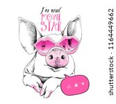 cute pig in a pink lips... | Shutterstock .eps vector #1164449662