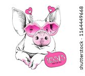 cute pig in a pink lips... | Shutterstock .eps vector #1164449668