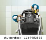 two workers at the service... | Shutterstock .eps vector #1164453598