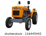 Orange  Wheeled Tractor On A...