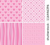 Set Of Pink Seamless Patterns