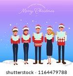 christmas caroling. teenage... | Shutterstock .eps vector #1164479788
