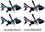 silhouette of fish with knife ... | Shutterstock .eps vector #1164486685