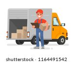 courier with the parcel on the... | Shutterstock .eps vector #1164491542