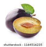 fresh plum with slice   Shutterstock . vector #1164516235