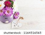 pink purple garden flowers and...   Shutterstock . vector #1164516565