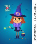 halloween witch with cooks and...   Shutterstock .eps vector #1164523012