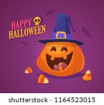 cute halloween pumpkin with... | Shutterstock .eps vector #1164523015