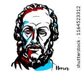 homer engraved vector portrait... | Shutterstock .eps vector #1164523312