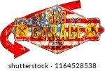 retro weathered garage and gas... | Shutterstock .eps vector #1164528538