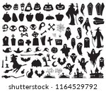 halloween silhouettes. spooky... | Shutterstock .eps vector #1164529792