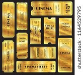 realistic golden show ticket.... | Shutterstock .eps vector #1164529795