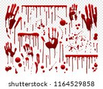blood drip. red paint splash ... | Shutterstock .eps vector #1164529858
