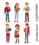 college students. university... | Shutterstock .eps vector #1164529882