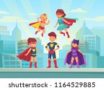 superhero kids team. comic hero ... | Shutterstock .eps vector #1164529885