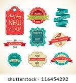 christmas vintage labels ... | Shutterstock .eps vector #116454292