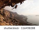 rock climber at sunset ... | Shutterstock . vector #116458288