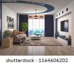 interior of the living room. 3d ... | Shutterstock . vector #1164606202