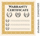 orange vintage warranty... | Shutterstock .eps vector #1164624385