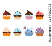 set of yummy cake  muffin... | Shutterstock .eps vector #1164662728