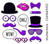 vector icon set with bowler hat ... | Shutterstock .eps vector #1164665452