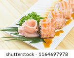 grilled salmon sushi roll  ... | Shutterstock . vector #1164697978